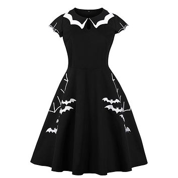 96928f8deb45b Halloween 5XL 4XL Plus Size Bat Embroidery Dress Women Punk Part