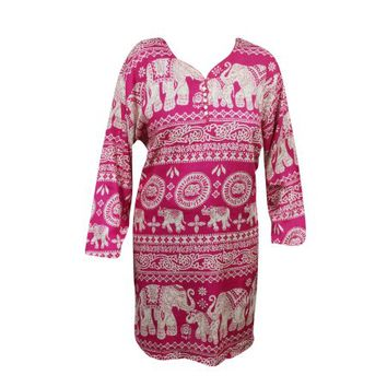 Mogul Women's Fashion Tunic Animal Print Pink Rayon Comfy Ethnic Indian Kurti Kurta Dress - Walmart.com