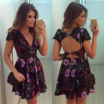 Print Hot Sale Deep V One Piece Dress [9710108879]