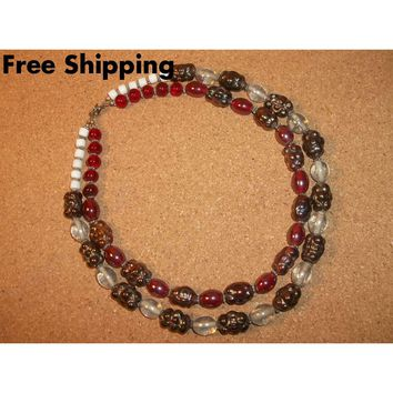 "Vintage Double Strand Red & Root Beer Carnival Glass Beaded 18"" Necklace"
