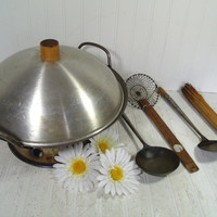 Vintage Rustic Well Worn Asian Inspired Wok 7 Piece Set - Carbon Steel Heavy Duty Pan with Base Lid & Primitive Utensils For Use or Display