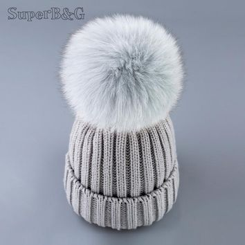 SUPERB&G mink and fox fur ball cap pom poms winter hat for women girl 's hat knitted beanies cap brand new thick female cap