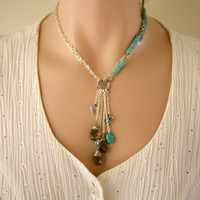 Long Or Short Convertible Antiqued Silver and Turquoise Charms and Gemstone Dangling Necklace