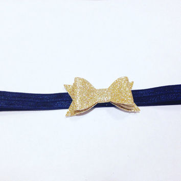 Leather Tuxedo Bow Headband-Baby Bow Headband-Newborn Headband-Toddler Headband-Kid's Headband