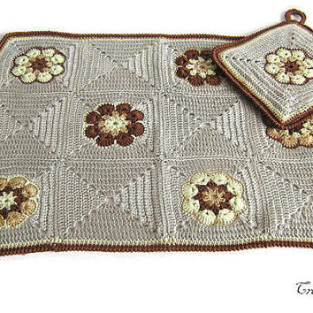 Crochet Placemat, Crochet Potholder Afghan Flower, Dinner Placemat, Wool Placemat, Table Placemats, Tovaglietta (Cod. 42)