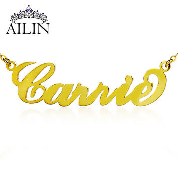 Freeshipping-Personalized Name Necklace Gold Plated Over Silver Initials CARRIE Font Customized Name Jewelry Great Gift