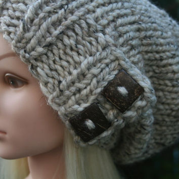 Oatmeal hat Cream hat- Available in 10 different colors- Beanie hat with 2 square natural coconut buttons Winter Fall Hat Womens Accessories