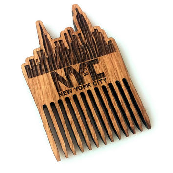 New York Skyline Wooden Beard Comb New York City Wooden Mustache Comb For Him Fathers Day Men Gift for Him Husband Friend Gift