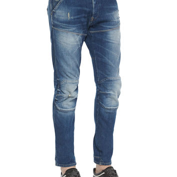 Faded Wash Slim-Stretch Moto Jeans, Medium