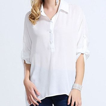 Women's Tops Blouse T-Shirt Half Sleeve Chiffon Loose Fitting Plus Size