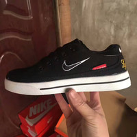 NIKE +SUPREME  Fashion leisure Men's and women's shoes Canvas shoes black