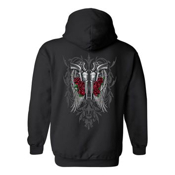 Women's Zip-Up Hoodie Beautiful Angel Wings Pistols and Roses
