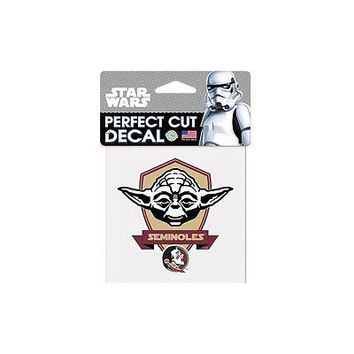 "Florida State Seminoles Star Wars Yoda 4"" x 4"" Perfect Cut Decal"
