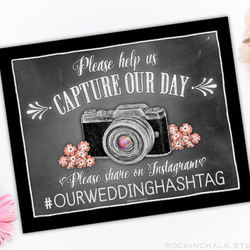 2-Pack or 4-Pack of Wedding Signs Social Media Hashtag Instagram - Personalize Your Event's Hashtag - Share wedding photos on Instagram