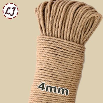 16meter/lot width 4mm Shabby Chic Natural Jute Twine Rustic String Cords Hemp rope Wrap Craft Making Decor Rope