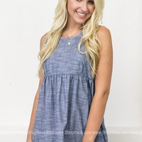Pom Pom Denim Babydoll Top
