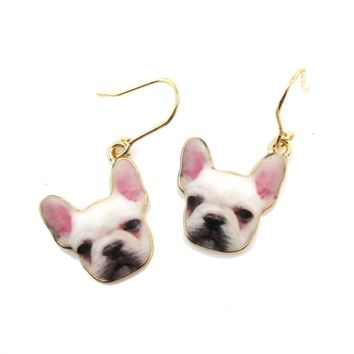 White French Bulldog Puppy Shaped Dangle Drop Earrings | Animal Jewelry