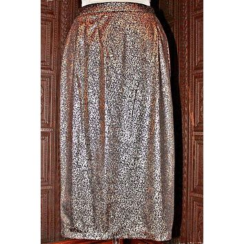 Vintage Gold Metallic  Pencil Skirt