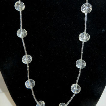 Vintage Clear Glass Necklace, Beaded Ball Necklace