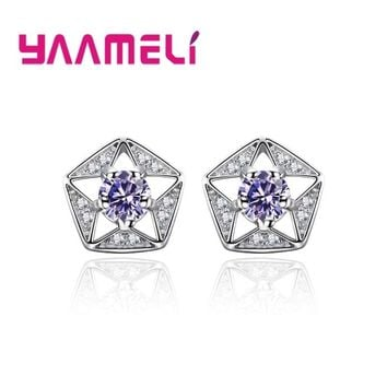 Giemi Authentic 925 Sterling Silver Star Stud Earrings With Sparkling CZ Stones for Women Bride Wedding Party Jewelry Gifts