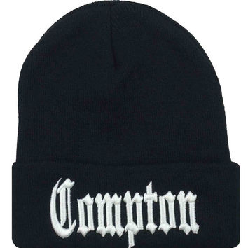 COMPTON Beanie Women's Winter Warm Knitted Black Cuffed Skully Hat