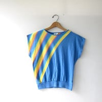 20% OFF SALE Vintage striped cotton shirt. 80s pastel tee shirt. Capped sleeve shirt. Sporty tshirt.