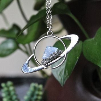 Blue Calcite Saturn Necklace, Celestial Jewelry, Galaxy, Outer Space Necklace, Wiccan Jewelry, Boho Pendant, Festival Fashion Planet Jewelry