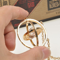 Harry Potter Time Turner Necklace Hermione Granger Rotating Spins Gold Hourglass - Gold/Silver