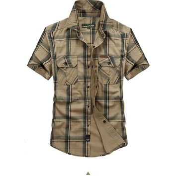 Hot sale Outdoor Large size M~5XL Men Shirts Short sleeve Chemise Homme 100% Cotton Sports Camping Climbing Tactics Army shirts