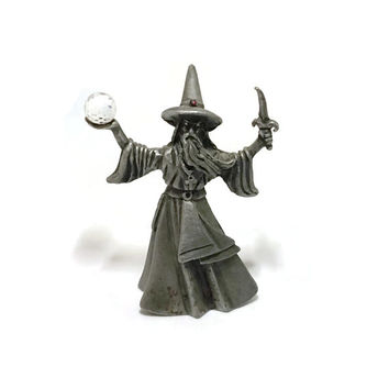 VINTAGE Ral Partha Pewter Wizard with Crystal Ball and Dagger, Rawcliffe Pewter Dungeons & Dragons