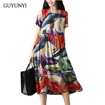 GUYUNYI Plus Size Women Clothes Cotton Linen Dress Vintage Abstract Pattern Print Casual Loose Summer Dress 2018 vestidos CX997