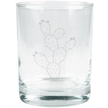 DCCKU3R Cinco de Mayo Prickly Pear Cactus Etched Glass Tumbler