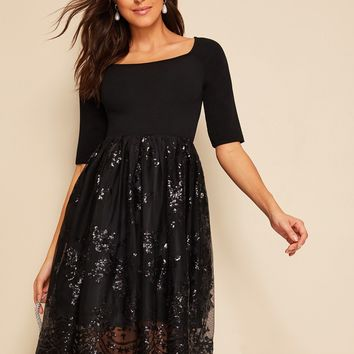 Sequin Mesh Overlay Fit & Flare Dress
