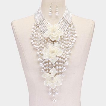 Triple Flower Pearl Fringe Statement Necklace & Earring Set