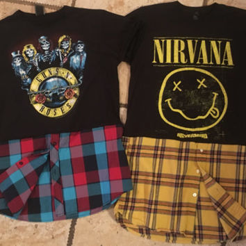 Custom Made Fear of god inspired Custom Vintage Nirvana/Guns and roses/Metallica Rock Tee Hybrid flannel.