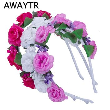 AWAYTR Girls Hair Accessories Flower Hairband Bridal Wedding Girls Headwear Boho Wreath for Kids 2017 New Head Tiara Garland