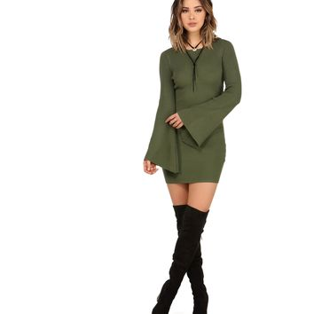 Olive Ring My Bell Sleeve Sweater Dress