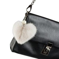 Alpaca Love Heart Shaped Fur Keychain