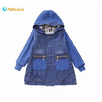 2018 children  wind coat 5-13 year old girls all-match clothes denim coat Diamond jacquard Sweater sleeves pocket spring autumn