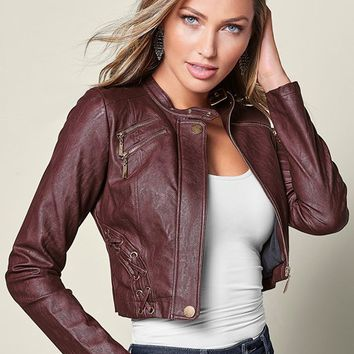 Faux Leather Lace Up Jacket | VENUS
