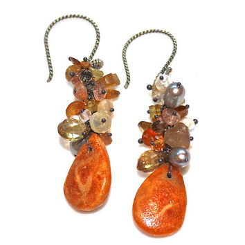 Coral Earrings Rustic  Ethiopian Opal Oregon Sunstone Grey Pearl Orange Oxidized Silver Cluster Earrings Eco Jewelry