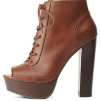 Lace-Up Peep Toe Platform Booties by Charlotte Russe - Cognac