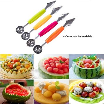 4 Colors 2 in 1 Fruit Carving Tool Watermelon Baller Ice-cream Digging Ball Spoon Diy Fruit Dishes Kitchen Tools & Gadgets 1 Pc