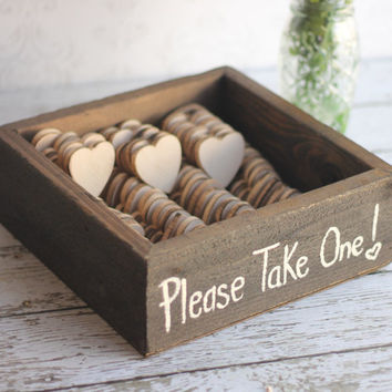 Rustic Wedding Favors Wood Heart Magnets Vintage Inspired Shabby Chic