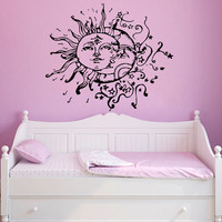 Wall Decal Vinyl Sticker Decals Art Home Decor Design Mural Sun Moon Crescent Dual Stars Night Symbol Ethnic Sunshine Fashion Bedroom AN559
