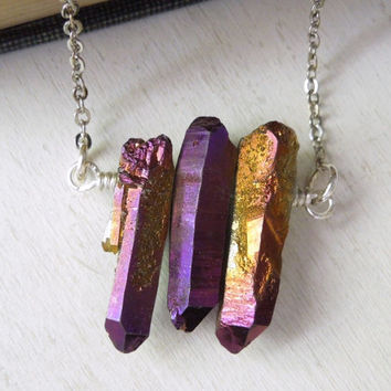 Purple Gold Quartz Necklace - Natural Quartz With Purple and Gold Titanium Pendant Necklace Silver Chain NO.7