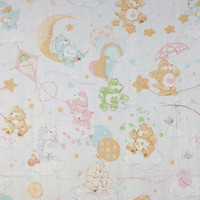 Care Bears Pastel Twin Bed Sheet Set Flat Fitted Linen Fabric Repurpose Upcycle Cute Hearts Stars Clouds Sunshine Butterflies 1980s 80s 1982