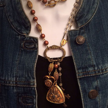 Vintage Assemblage Necklace with Rosary, Lockets, Crucifix, Saint Shrine