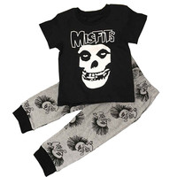 Print Skull Baby Boys Clothing Summer New Children Clothes Cotton Kids Boy Clothing Set Tshirts+Pants Kids Suit Set