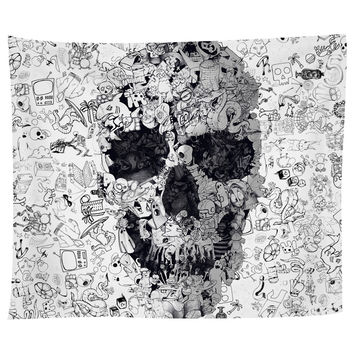 Doodle Skull Tapestry